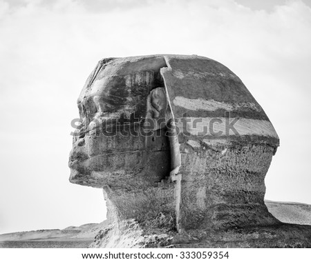Head of Great Sphinx of Giza, a limestone statue of a creature with a lion's body and a human head), Giza Plateau, West Bank of the Nile, Giza, Egypt - stock photo