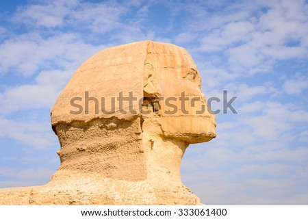 Head of Great Sphinx of Giza, a limestone statue of a creature with a lion's body and a human head), Giza Plateau, West Bank of the Nile, Giza, Egypt