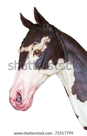 Head of horse statue isolated on white background - stock photo