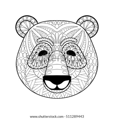 stock photo head of panda in zentangle style freehand sketch for adult antistress coloring page with