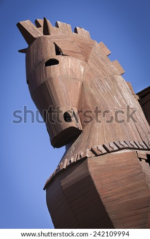 Head of reconstructed Trojan Horse at Troy in Turkey - stock photo