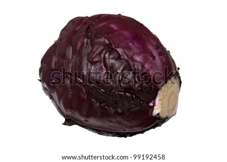 Head of red cabbage on a white background - stock photo