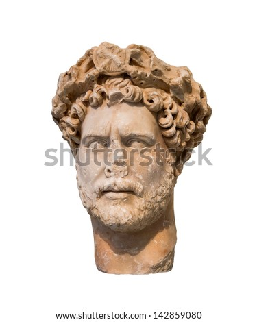 Head of Roman emperor Hadrian (Reign 117-138 AD), isolated - stock photo