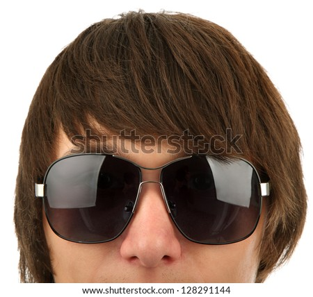 Head of the young man in sunglasses   isolated on a white background - stock photo