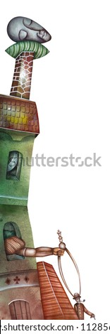 Head on a pillow. Allegory of Dream - stock photo