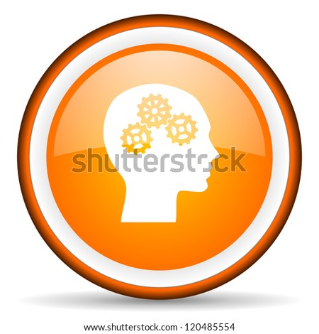 head orange glossy circle icon on white background