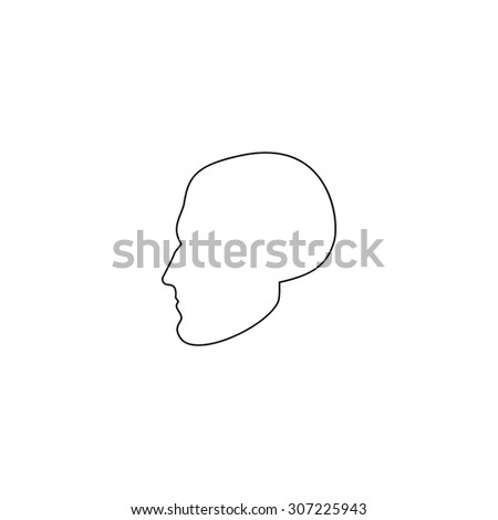 Head. Outline black simple symbol