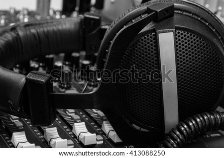 Head Phone and Mixers Grayscale