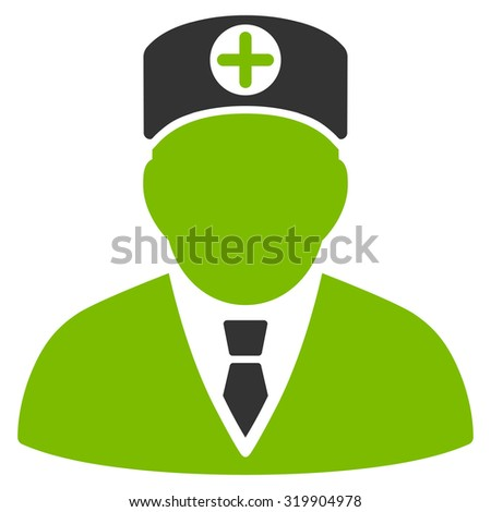 Head Physician raster icon. Style is bicolor flat symbol, eco green and gray colors, rounded angles, white background.