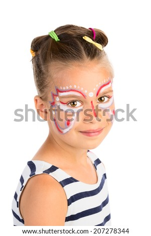 Head portrait of a little girl with abstract  face painting, isolated - stock photo