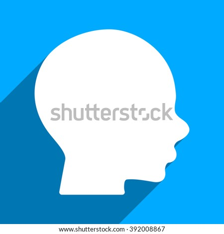 Head Profile long shadow glyph icon. Style is a flat head profile iconic symbol on a blue square background.