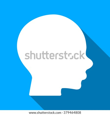Head Profile long shadow raster icon. Style is a flat light symbol with rounded angles on a blue square background.
