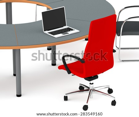 head's laptop on a round table - stock photo