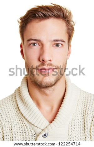 Head shot of a young attractive man - stock photo
