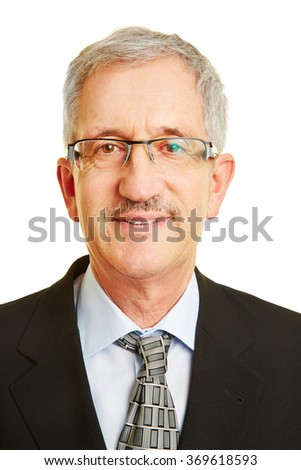 Head shot of confident old senior manager with glasses