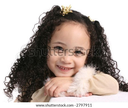 head shot of latino girl - stock photo
