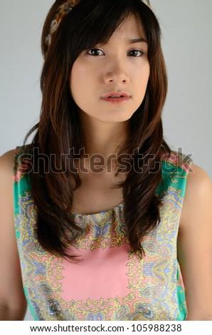 Head shot of pretty asian girl portrait - stock photo