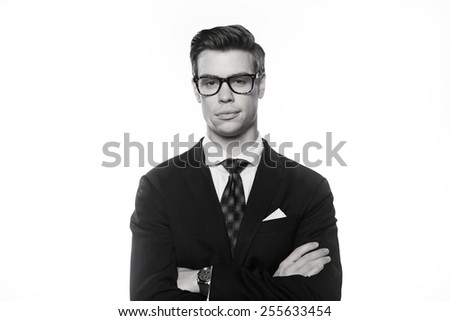Head shut with handsome man on white background - stock photo