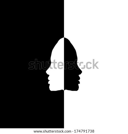 head silhouettes in mirror, black and white
