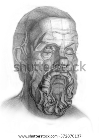 Head Socrates drawn in pencil. Academic drawing.