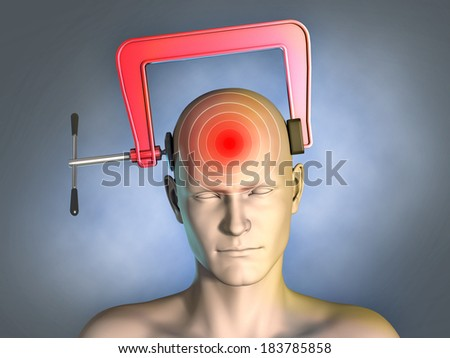 Head squeezed by a clamp. Digital illustration. - stock photo