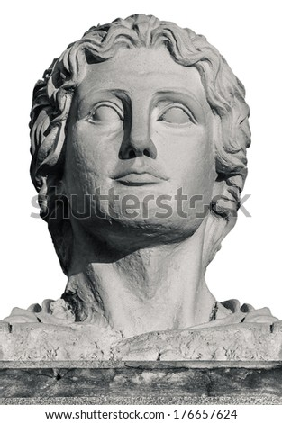 Head Statue of Greek Leader Alexander The Great on White - stock photo