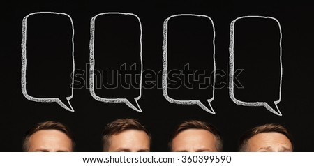 Head-thinking man. Concept the idea and thought. Communication space text - stock photo