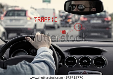 head-up system in car - stock photo