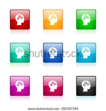 head web icons set - stock photo