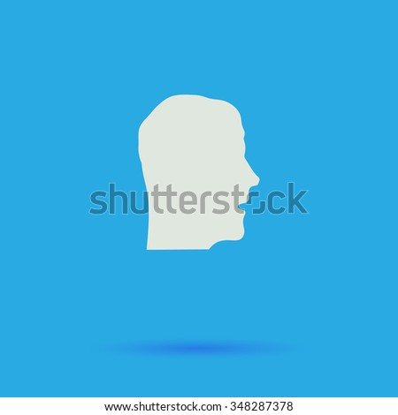 head White flat simple pictogram on blue background with shadow