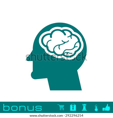 head with brain icon - stock photo