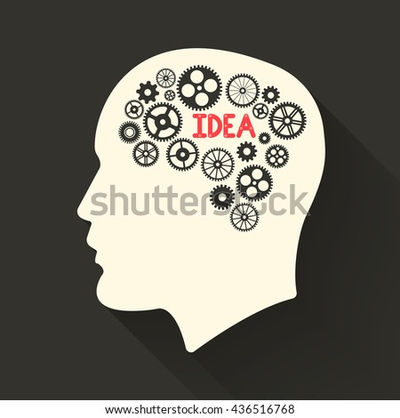 Head with brain pictograph. Male human think symbols. Vector illustration. - stock photo