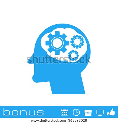 head with cog settings icon - stock photo