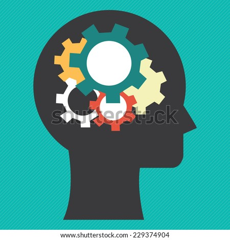 Head With Colorful Gear Inside Icon or Label in Blue Background  - stock photo