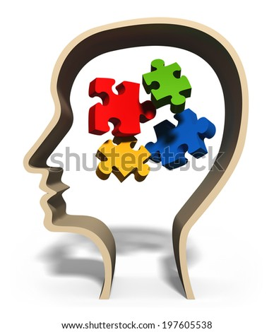 Head with jigsaw puzzle pieces in brain concept for problem solving, solution, problems or puzzled mind - stock photo
