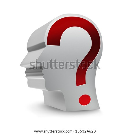 head with question mark on a white background
