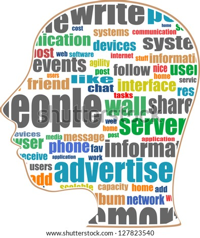 Head with the words on the topic of social networking and media, raster - stock photo