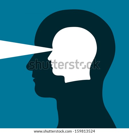 Head within a head emitting a beam of light depicting eyesight, vision, mental acuity and intelligence in a conceptual vector illustration - stock photo