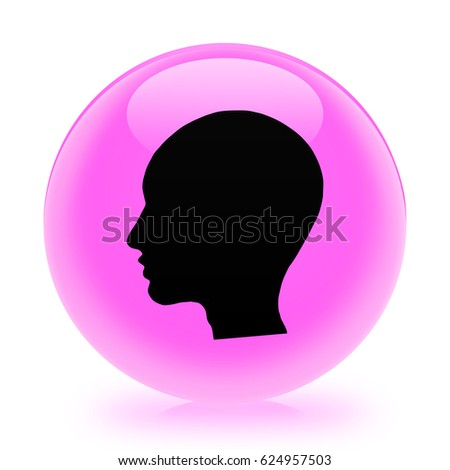 Head (woman face) icon. Internet button.3d illustration