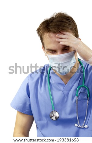 Headache at the doctor because of professional problems. - stock photo