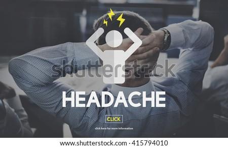Headache Illness Sick Sad Migraine Concept - stock photo