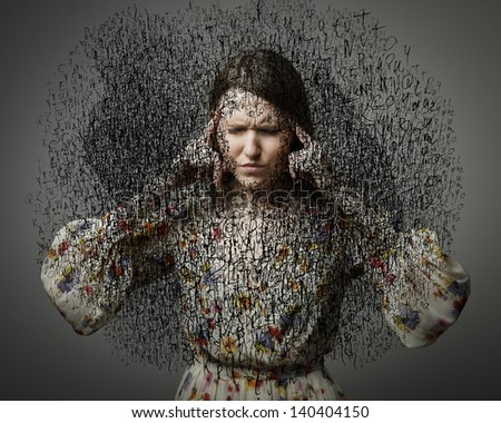 Headache. Obsession. The stream of dark thoughts. Expressions, feelings and moods. Young woman suffering from dark thoughts. - stock photo
