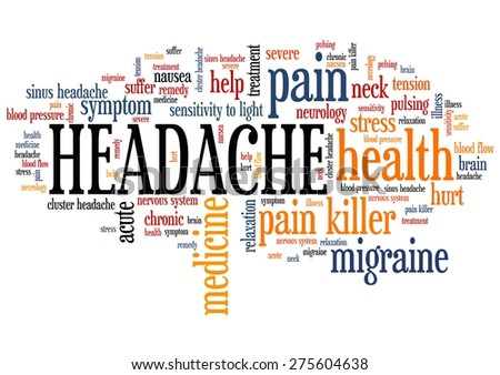 Headache - pain health concepts word cloud illustration. Word collage concept. - stock photo