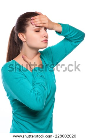 Headache. Woman having Headache. Sick. Flu - stock photo