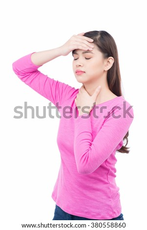 Headache. Woman having Headache. Sick. Flu - stock photo
