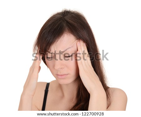 Headache - young woman holding head in pain isolated on white background