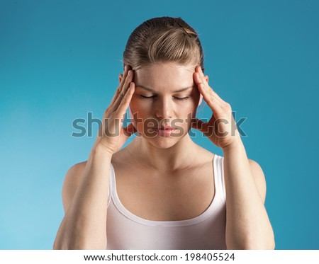 Headache. Young woman tired of insomnia.  - stock photo