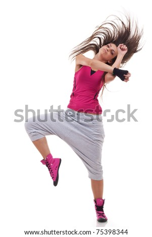 headbanging modern style dancer posing on studio background