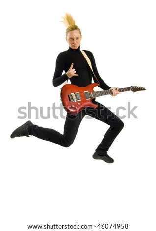headbanging woman guitarist jumps making rock sign over white