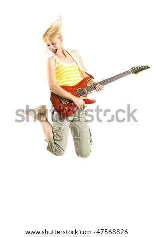 headbanging woman guitarist jumps  over white background